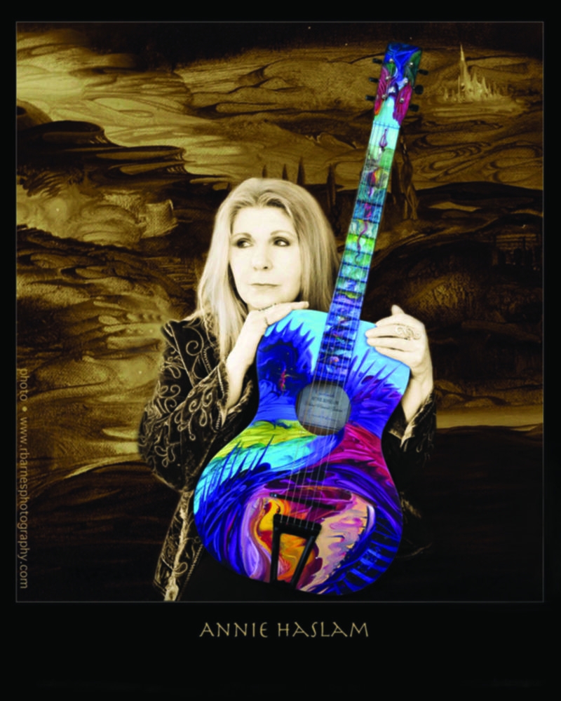 Annie with 'Rainforest' hand-painted Art Guitar