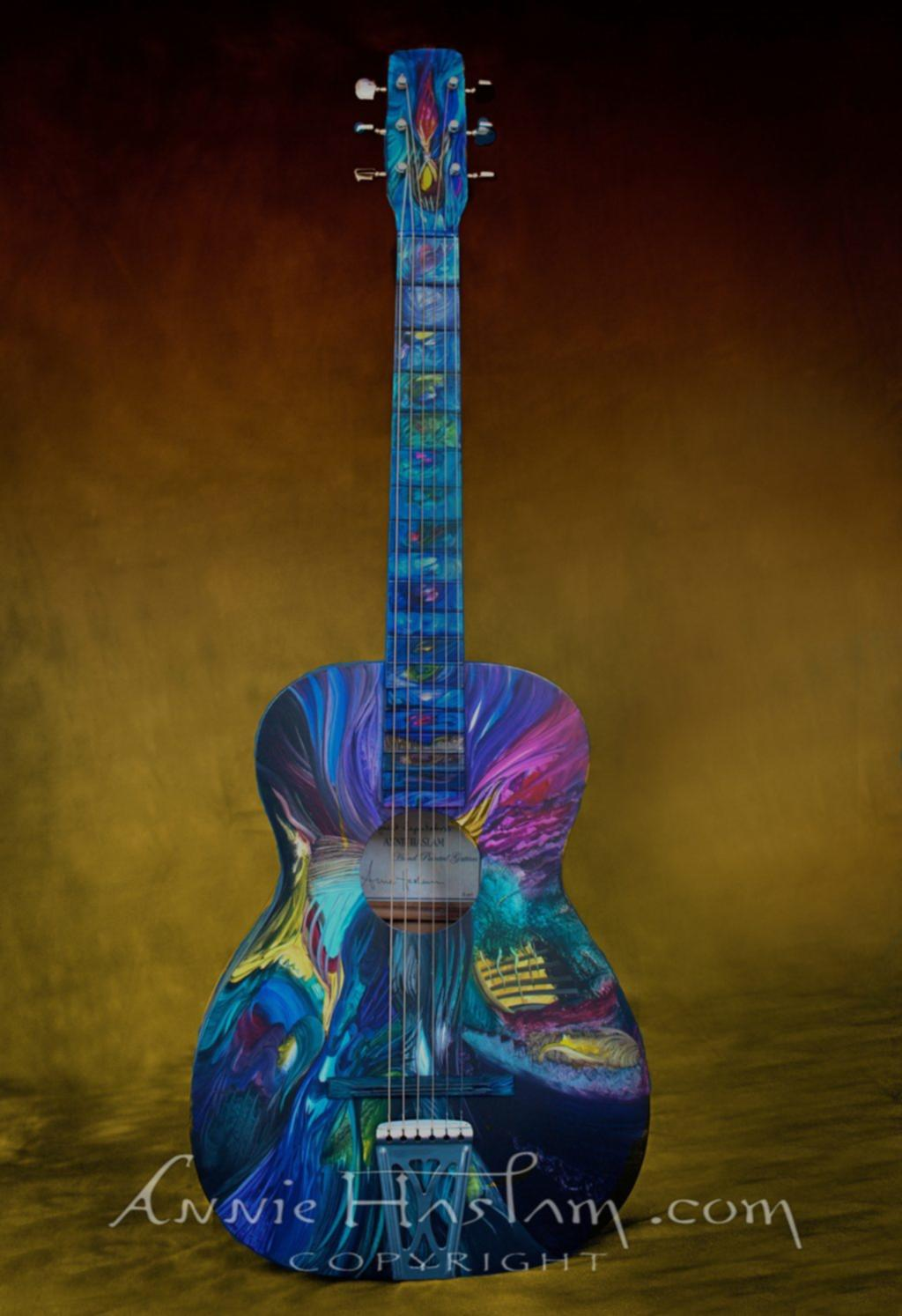 'Great Expectations' hand-painted art guitar: donated to charity auction at The Bottom Line, Nagoya, Japan to benefit young musicians affected by the Tsunami. Annie traveled from the USA with the guitar and also performed at the show.