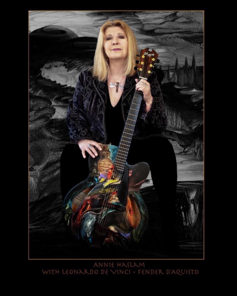 Annie with 'Leonardo da Vinci' hand-painted Fender D'Aquisto guitar